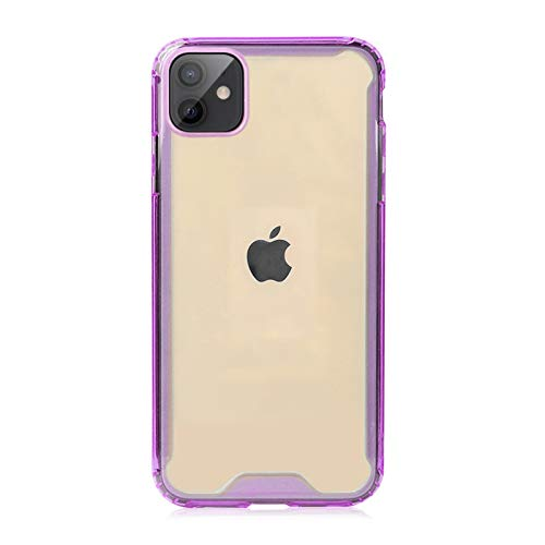 Krichit Shockproof Case for iPhone 12 Pro Max Clear Case Hard PC Back Anti-Scratch, Soft TPU Bumper, Protective Cover for iPhone 12 Pro Max (Purple)