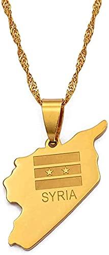 BEISUOSIBYW Co.,Ltd Halsketten Frauen Männer Syrien Karte Flagge Vakuum Gold Farbe Charms Anhänger Halsketten Syrischer Schmuck Naher Osten 60cm