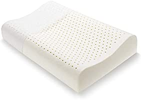 Luxurious Contour Latex Adult Sized Pillow with Removable Cotton Cover by Starkhausen 100% Natural, Medium Profile Pillow...