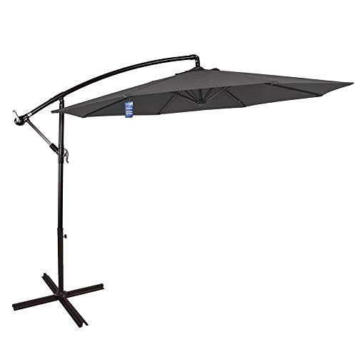Sundale Outdoor 10 Feet Aluminum Offset Patio Umbrella with Crank and Cross Bar Set, Cantilever...