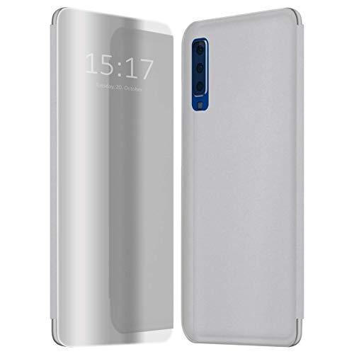 Preisvergleich Produktbild mtb more energy® Cover Clear View für Samsung Galaxy A7 2018,  A7 2018 Duos SM-A750(FN / DS),  6.0'' - Silber-Transparent - Aufstellfunktion - Spiegel Smart Case Hülle Tasche