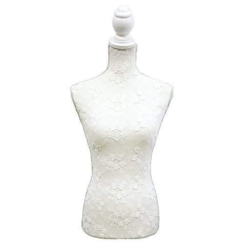 La Vida en Led Mannequin de couture femme brodé Blanc Buste de couture avec pied