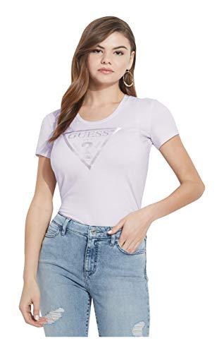 Guess SS Vn Peace tee Camiseta, Lilla, XL para Mujer