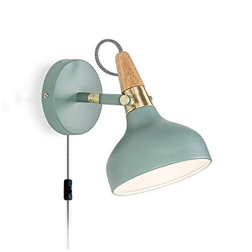 WLXJDJ Lámpara de Pared de Orientable Moderno, Apliques de Pared de Cabecera con Interruptor y Cable Enchufable Iluminación Interior E27 para Sala de Estar Dormitorio Luz de Lectura,Verde