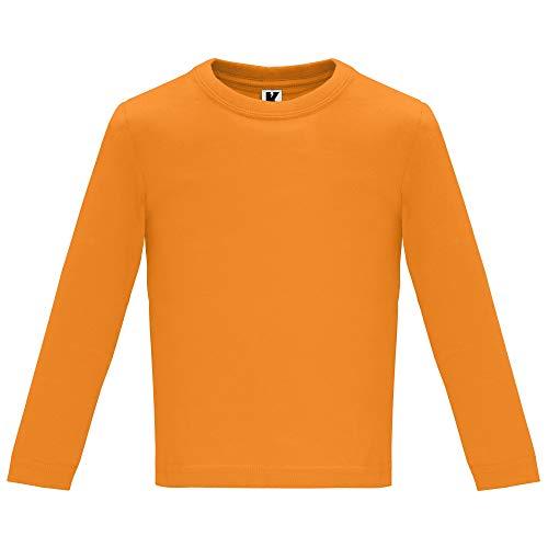 Camiseta de Colores con Manga Larga para Bebés - Prenda de algodón 100%, cómoda, Suave, cálida y Tacto Agradable (Naranja, 24M)