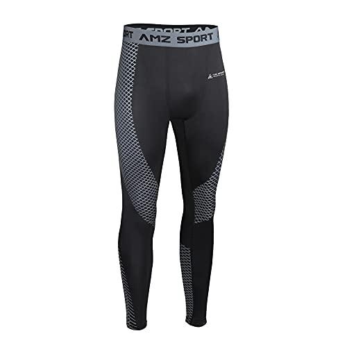 AMZSPORT Uomo Pantaloni Compressione Calzamaglia Sportivi Lunghi Leggins da Running Allenamento Nero M