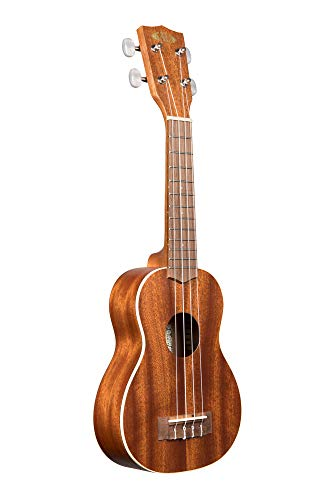 Kala Satin Mahogany Soprano Ukulele with White Binding (KA-S),Brown