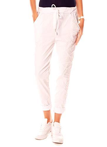 Easy Young Fashion Damen Hose Joggpants Boyfriend Jogger Pants 7/8 Lang Freizeithose Stoffhose Weiß