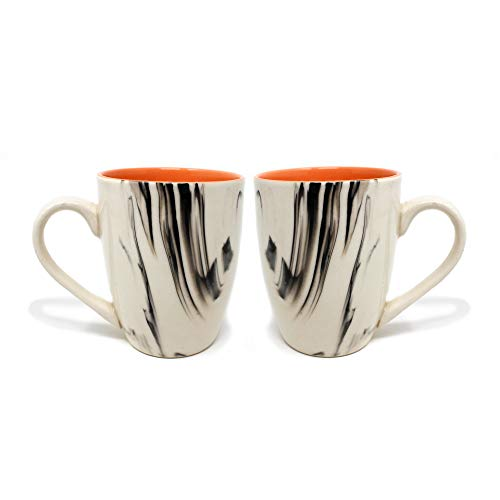 The Earth Store Ceramic Handcrafted Microwave Safe Italian White Orange Coffee / Tea / Beverage Mug with Handle Ideal Best Gift to Friends, Anniversary, Valentine Day, Birthday - (Set of 2, 340 ML)