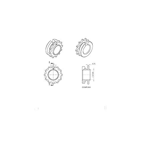 Motodak Pignon Cyclo teknix Adapt. 103 SP/mvl/Vogue 12dts