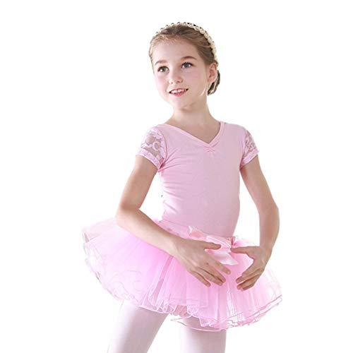 Kaiyei Manga Corta para niñas Detalle de Espalda Ballet Tutu Leotardo Falda Gimnasia Traje de Baile Ropa Rosa 140