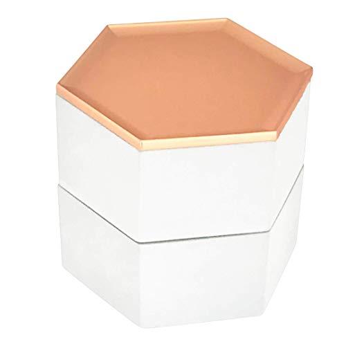 schmuckkästchen Beton Stapelbar - Uhrenbox Damen - Grau - Weiß - Rosegold - Schmuckdose fur Aufbewahrung und Ablage von Ohrringen, Armbander, Ketten und Accessoires (Weiß)