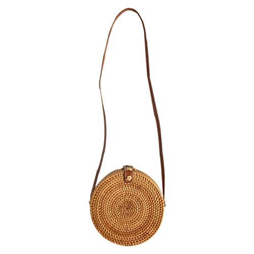 TENDYCOCO Crossbody Bag for Women Straw Purses and Handbags Rattan Purse Round Wicker Purse Circle
