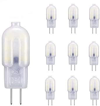 G4 LED-Lampe kaltweiß 6000K, 2W LED-äquivalente 20W Halogenlampe, 360 ° Weitwinkel, 200LM, nicht dimmbar, 12V AC / DC, 10er Pack