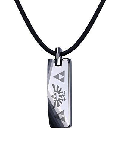 VNOX Carburo de tungsteno La leyenda de Zelda Triforce collar con colgante de barra para hombre, cadena de cuero gratis