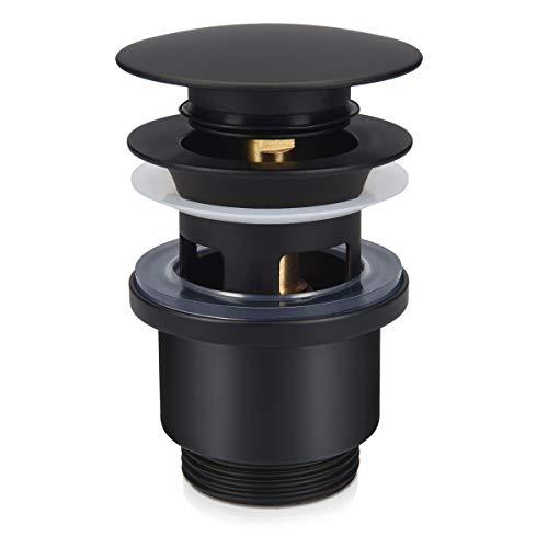 Navaris Válvula para desagüe Universal - Tapón Pop up con rebosadero de Metal para baño Cocina - para Lavabo Fregadero o bañera de 38 MM - Negro