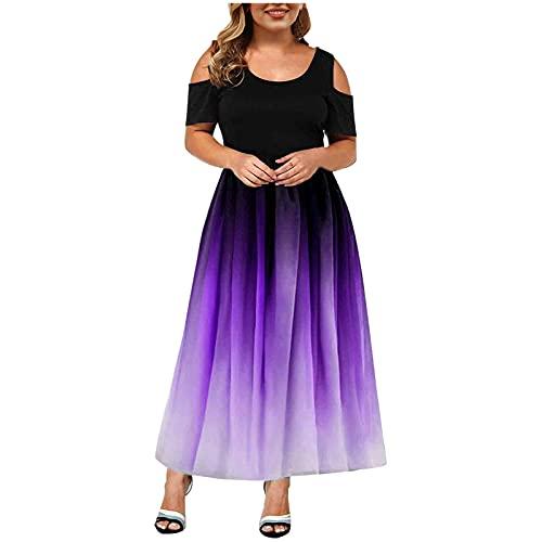 Summer Plus Size Maxi Dress for Wedding Guest  Women Tie Dye Sexy Lace Cold Shoulder Short Sleeve Crewneck Long Dress