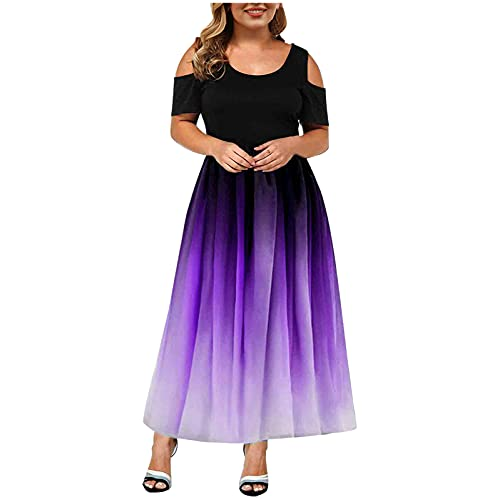 uzwwjim Plus Size Elegante Damen Frauen Kurzarm Kalt Schulter Verlaufssaum Elegante Täglichen Party Strand Langes Kleid Schulterfrei...