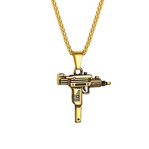 Collana con Pendente a Pistola Uzi Jewerly GoldChic, Gioielli Hip Hop con Fucile d'assalto placcati Oro 18 carati