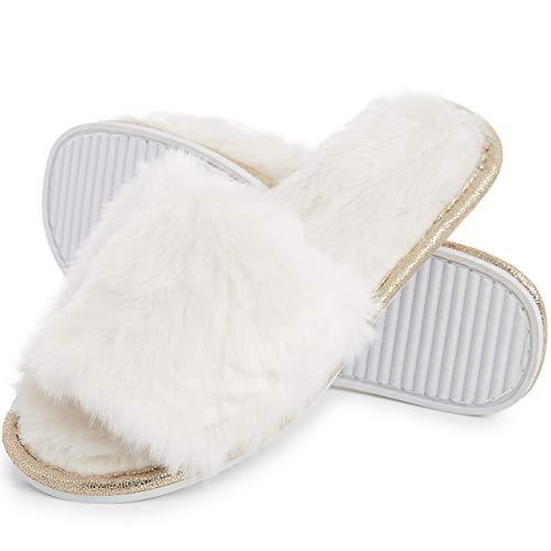 Ciabatte con Pelliccia da Donna in Memory Foam Babucce Morbide Pantofole Invernali Rosso Grigio Bianco Panna (38/39 EU, Crema)