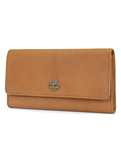 Timberland womens Leather Rfid Flap Clutch Organizer Wallet, Wheat (Nubuck), One Size US