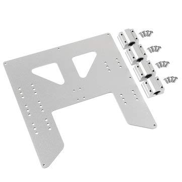 BliliDIY Black/Silver Aluminum Y Carriage Hot Bed Support Plate With Slider For 3D Printer - Silver