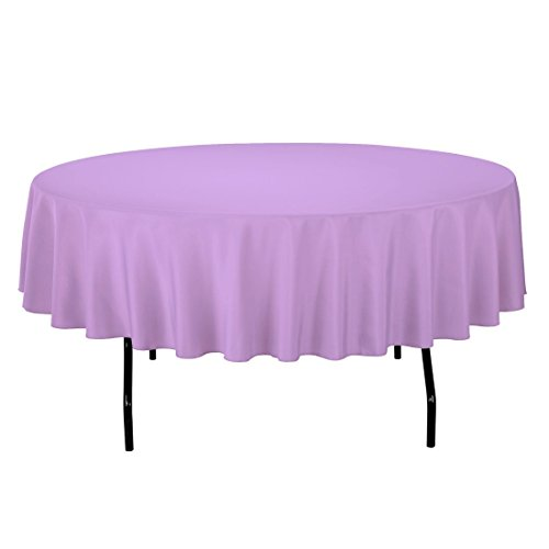 "Gee Di Moda Tablecloth - 90"" Inch Round Tablecloths for Circular Table Cover in Lavender Washable Polyester - Great for Buffet Table, Parties, Holiday Dinner & More"
