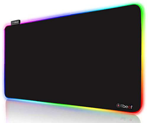 Offbeat - RGB Gaming Mouse Pad, Non-Slip Rubber Base, Soft Glowing 14 LED Modes   2 Brightness Mode   Large Extended Gaming Desk Keyboard Pad Mat (800 x 300 x 4 MM) XXL
