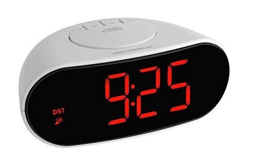 TFA Dostmann Digitaler Funk-Wecker mit Leuchtziffern, Kunststoff, Weiß, Schwarz