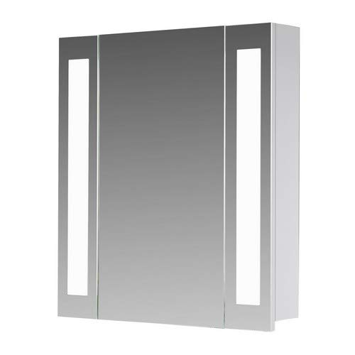 Eurosan San Francisco, SF60 armoire de toilette à miroir, éclairage LED intégré, 1 porte, 60 x 62 cm (largeur x hauteur), coloris blanc