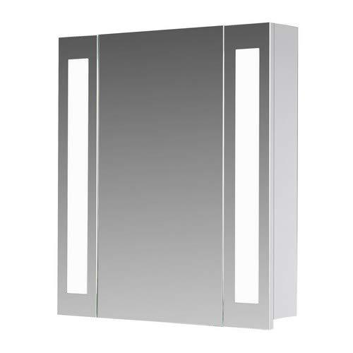 Eurosan 1-türiger Spiegelschrank, Superflach, Integrierte LED-Frontbeleuchtung, Breite 60 cm, Weiß, San Francisco, SF60