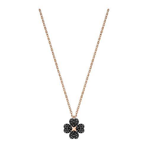 Swarovski Pendente Latisha Flower, Nero, Placcato Oro Rosa