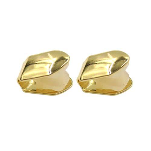 Artibetter 2 piezas de oro de un solo diente colmillos grillz cap para dientes dientes de hip hop liso sólido bling slugs