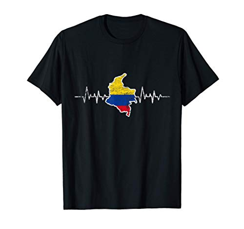 Herzschlag Kolumbianische Flagge Geschenk Kolumbien T-Shirt