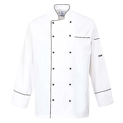 Portwest C775 - Chaqueta Chef Cambridge, color Blanco, talla XL