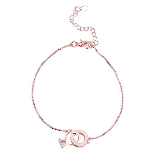 ZRSYH Pulsera de cadena para mujer, con cristales y cristales de imitación, pulsera de amistad, con cierre de langosta, oro rosa