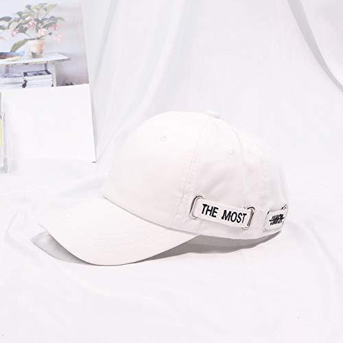 Carta Gorra de béisbol Otoño e Invierno Casual Gorra Salvaje Arte Retro Joven Estudiante Sombrero de Sol Mujer Blanco M (56-58cm)