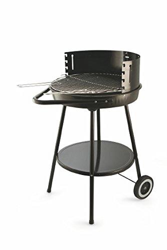Galileo Casa 2414759 Barbecue con Ruote, Tondo, 50 x 82 cm, Nero, Acciaio