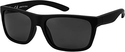 La Optica B.L.M. Herren Sonnenbrille UV400 Männer Sportbrille Fahrradbrille - Gummiert Schwarz (Polarisiert Gläser: Grau)