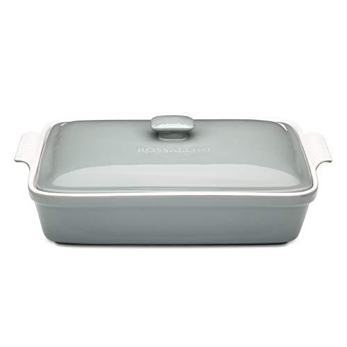 Rossallini Stoneware Casserole Dish Bakeware Set with Lid, Covered Rectangular Dinnerware, Large 4 Quart, 13 by 9 Inch, Grigio [Grey]