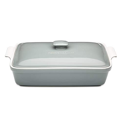 Rossallini Stoneware Casserole Dish Bakeware Set with Lid, Covered Rectangular Dinnerware, Large 4 Quart, 13 by 9 Inch, Grigio [Grey]
