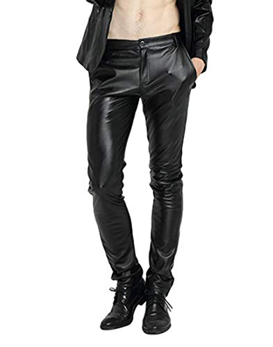 Idopy Men`s Pu Motorcycle Party Holiday Performance Faux Leather Pants Jeans Black 30