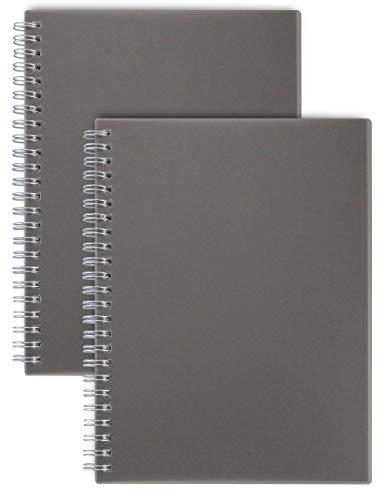Miliko Dark Transparent Hardcover B5 Dot Grid Wirebound/Spiral Notebook/Journal Set-2 Per Pack, 7.1 Inches x 10 Inches(Dot Grid)