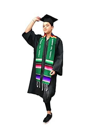 Graduación Clase de 2021 Sash GREEN prenda túnica mexicana sarape Faja 1 pieza