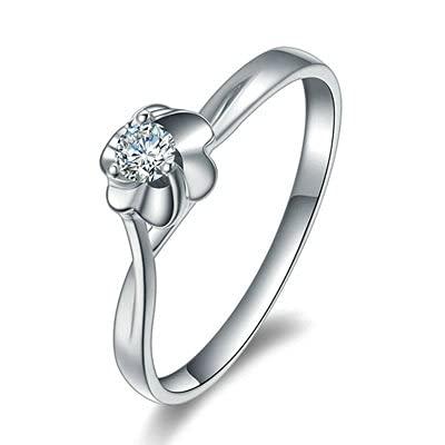 Bishilin Platino, Flor 0.98 Diamante Promise Compromiso Nupcial Anillo de Banda de Aniversario de Bodas Ajuste Cómodo Regalos para Cumpleaños Navidad Platatamaño: 21