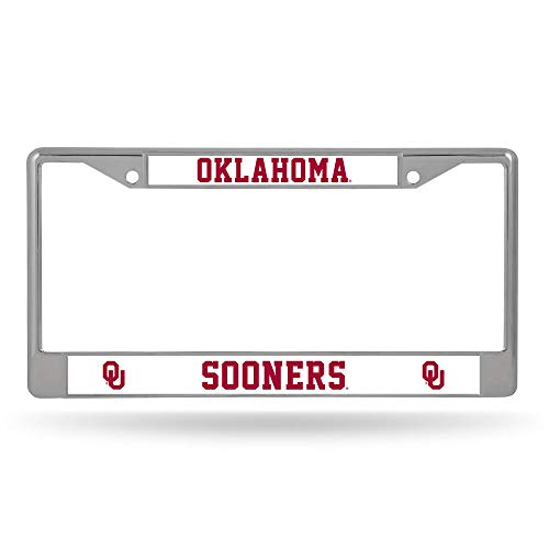 Rico Industries Unisex's NCAA Oklahoma Sooners Standard Chrome License Plate Frame, Team Color, 7.5