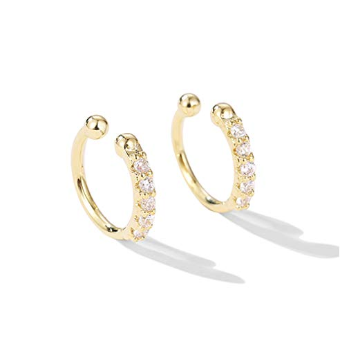 Ear Cuff Earrings Small Hoop Huggies Sterling Silver Cubic Zirconia Clip On No Piercing Cartilage Earring for Women Girls (Gold)