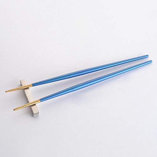 5 Pairs Fiberglass Chopsticks, Japanese Chopsticks Reusable Alloy Chopsticks, Anti-Slip Quality Sushi Chopsticks - Dishwasher Safe-Blue Gold