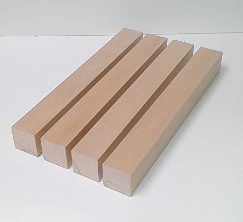 4 Tischfüße Kanthölzer Drechselholz Buche massiv. 6x6cm stark. Hobelware.100-1200mm lang. (60x60x100mm lang.)
