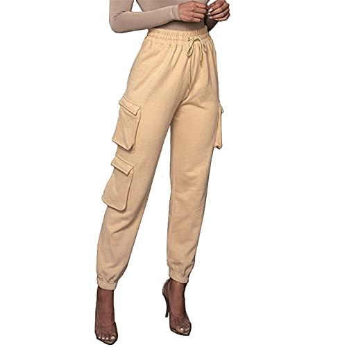 Tallas Grandes Moda para Mujer Casual Bolsillos De Color SóLido Pantalones con CordóN Pantalones Deportivos Pantalones Casuales